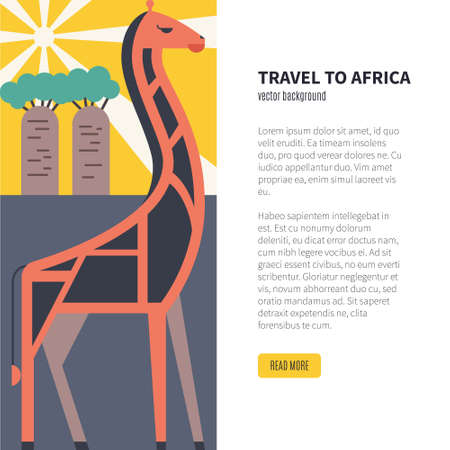 Illustration of giraffe, baobab and sun with place for your text. Safari in africa concept. African vector illustration with wild animal.