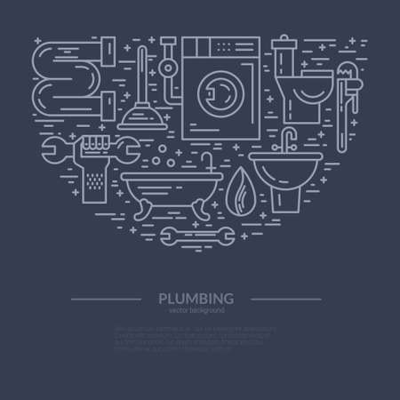 tube wrench: Line style vector illustration of plumbing services. Plumbing symbols - leak, pipe, wrench with place for your text. Plumber service banner template.