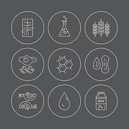 intolerance: Icons with symbols of different allergens. Vector line style collection. Food intolerance symbols for restaurants, farm markets and menu. Special diet illustration.