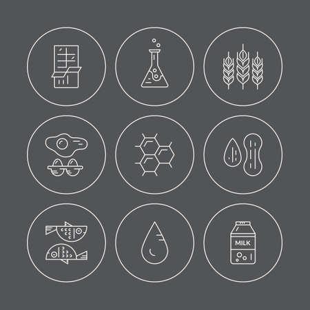 intolerancia: Los iconos con s�mbolos de diferentes alergenos. Vector colecci�n de estilo de l�nea. s�mbolos intolerancia a los alimentos para restaurantes, mercados agr�colas y el men�. ilustraci�n de dieta especial.