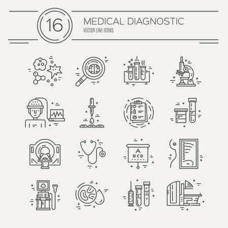 Vector lijn iconen met medische symbolen. Medische check-up en onderzoek. Line iconen van MRI, scan, röntgenstraal, het testen van bloed en andere medische diagnostische proces. Vector Illustratie