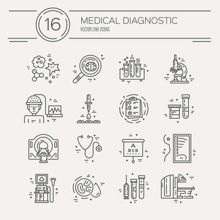 medical illustration: Vector line icons with medical symbols. Medical check-up and research. Line icons of MRI, scan, xray, blood testing and other medical diagnostic process.