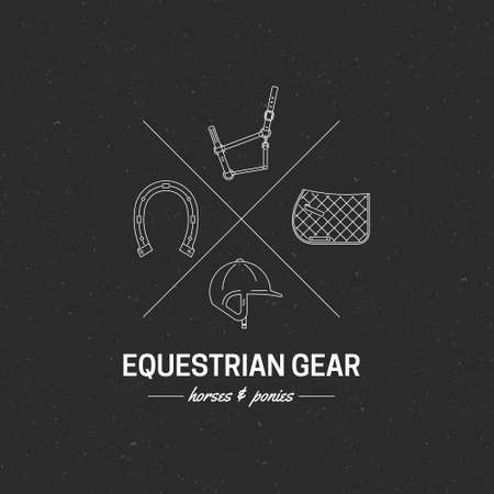 saddle: Equestrian gear logo. Prefect modern line style label with helmet, saddle and other horse riding gear.