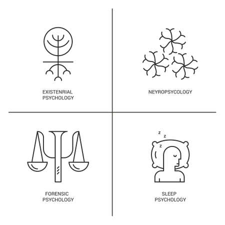theories: Line style vector icons introducing different psychology theories including neyropsychology, sleep psychology.?Mental health, autism, mental problems symbols.