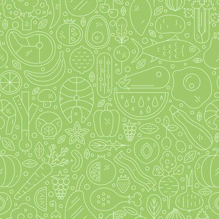 Vector sin patrón con comida saludable. fondo perfecto con las frutas, verduras, pescados y mariscos - se puede utilizar como un fondo para el menú, mercado de productos orgánicos. Foto de archivo - 54818269