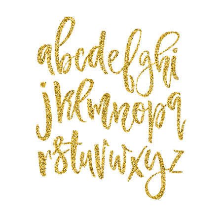 golden font: Vector golden alphabet. Unique brushed font with golden glitter.
