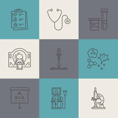 医療のシンボル ベクトル線のアイコン。検診や研究。Mri 検査、スキャン、x 線、血液検査、その他医療診断プロセスの線のアイコン。