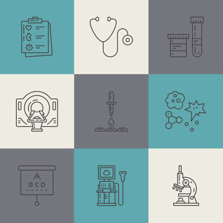 Vector line icons with medical symbols. Medical check-up and research. Line icons of MRI, scan, xray, blood testing and other medical diagnostic process.