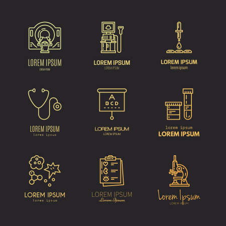 doctor exam: Collection of logos with different medical items and machines. Medical research and diagnostic. Label for lab, research center, MRI scan. Illustration