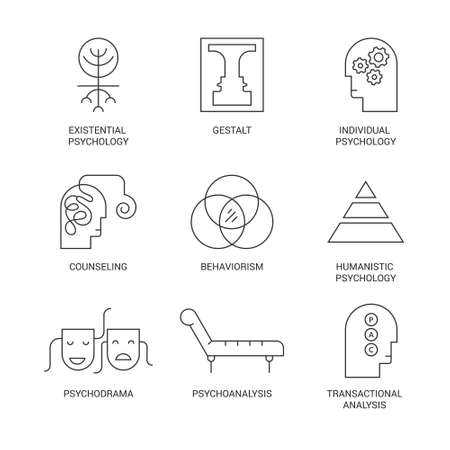 Symbolen van verschillende psychologische theorieën zoals psychodrama, behaviorisme, gestalt, transactionele analyse gemaakt in vector. Geestelijke gezondheid, autisme, psychische problemen symbolen. Stock Illustratie