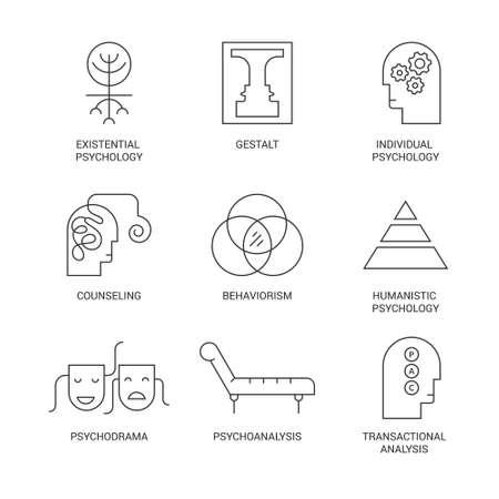Symbolen van verschillende psychologische theorieën zoals psychodrama, behaviorisme, gestalt, transactionele analyse gemaakt in vector. Geestelijke gezondheid, autisme, psychische problemen symbolen.