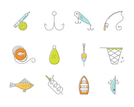 pictogramm: Fishing icons. Line style vector illustration. Icon collection. Rod, fly, bobber, tackle, hook and other gear for outdoor activity on the lake or in the ocean.Fishing equipment collection made in vector.