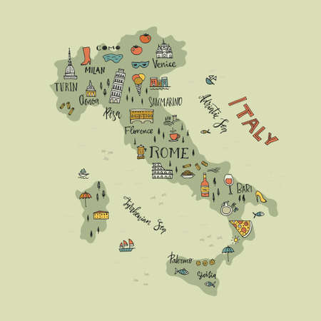 italy culture: Italian map with handdrawn symbols and lettering elements.