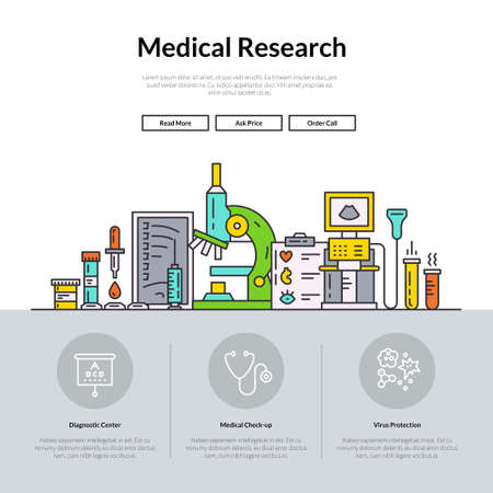 Web page design template with different medical symbols and icons. Hero image concept for medical site. Website layout.