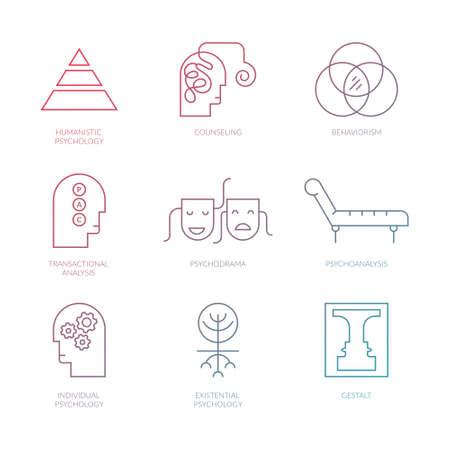 Perfect Pictogramms limpio vector de diferentes teorías de psicología, incluyendo el psicodrama,? El análisis transaccional, el conductismo, la salud gestalt.?Mental, autismo, problemas de símbolos mentales.