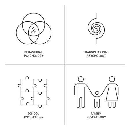 Iconos del vector de estilo de línea que introducen diferentes teorías de psicología, incluyendo la psicología de la familia, la salud behaviorism.?Mental, autismo, problemas de símbolos mentales.
