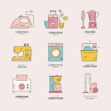 家電製品や調理器具とベクトルのロゴ コレクション。