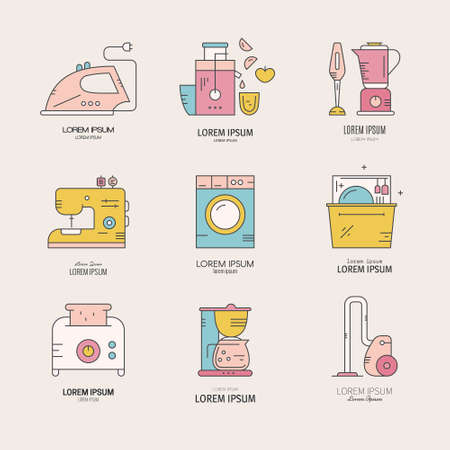 Vector logo collection with household appliances and utensils.