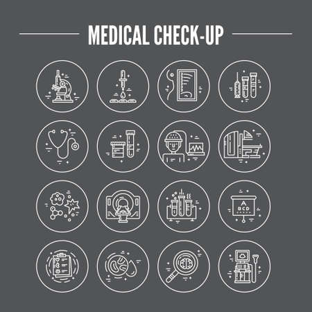 medical test: Modern line symbols of medicine - MRI, scanning machine, xray, blood test. Medical icons made in vector. Check-up and medical diagnostic. Illustration