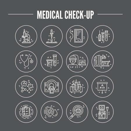 magnetic resonance imaging: Modern line symbols of medicine - MRI, scanning machine, xray, blood test. Medical icons made in vector. Check-up and medical diagnostic. Illustration