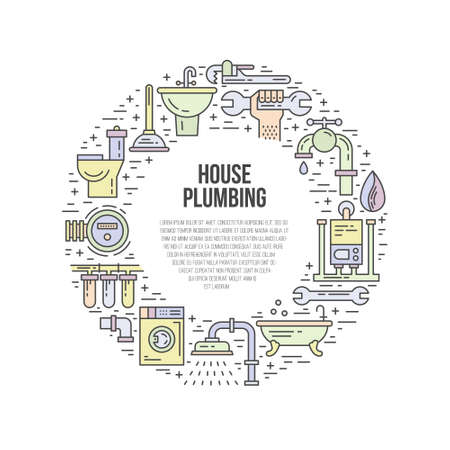 plumb: House Plumbing - banner, poster or advertising template with plumbing gear. Wrench, pipe, leak - house repair symbols. Handyman services vector illustration.