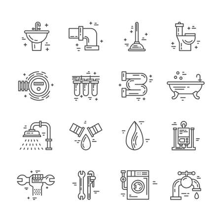 fixing: Plumbing and handyman service symbols made in line style vector. Vector collection of plumbing icons. Modern illistrations of pipe, leak, faucet fixing and other repair services. Illustration