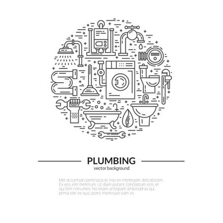 refit: House plumbing concept. Line style vector illustration. Plumbing services symbols. Illustration