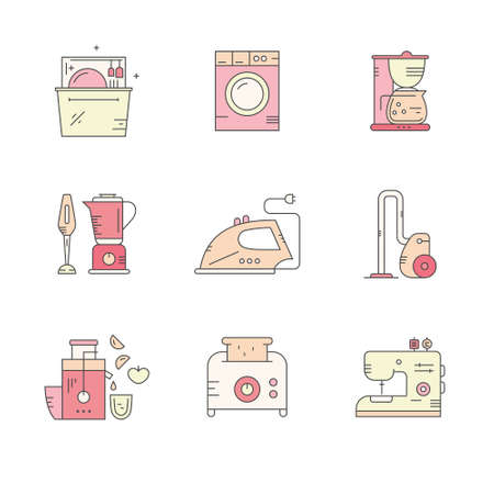 household goods: Vector line icons with kitchen utensils. Household equipment for cooking and cleaning. Kitchenware for food preparation goods, Illustration