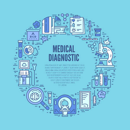 Die medizinische Forschung und Gesundheits Design-Element. Medizinische Illustration im Linienstil-Vektor. Moderne Technologie. Vektorgrafik