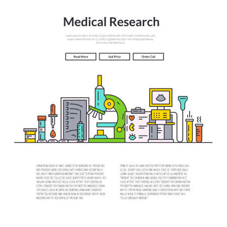 magnetic resonance imaging: Web page design template with different medical symbols and icons. Hero image concept for medical site. Website layout.