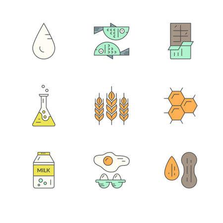intolerancia: iconos de al�rgenos alimentarios. serie de l�neas de vector. s�mbolos intolerancia a los alimentos para restaurantes, mercados agr�colas y el men�. ilustraci�n de dieta especial.