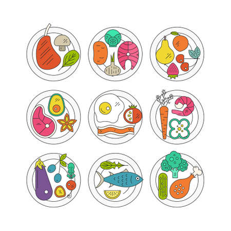 fish steak: Colorful plates with healthy food. Healthy lifestyle conceptual illustration. Diet and organic food concept. Vector elements isolated and easy to use.