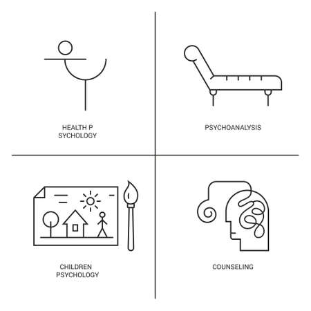 psychoanalysis: Line style vector icons introducing different psychology theories including counseling, children psychology, psychoanalysis.?Mental health, autism, mental problems symbols.