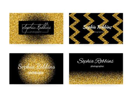 fondo elegante: Colección de plantillas de tarjetas de visita con el fondo de oro. 100% vector de efecto brillo de oro en tarjetas de visita - fácil de usar y de edición. Tarjeta de visita para las mujeres o para la industria de la moda.