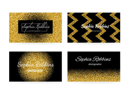 fashion collection: Collection of business card templates with golden background. 100% vector golden glitter effect on business cards - easy to use and edit. Business card for women or for fashion industry.
