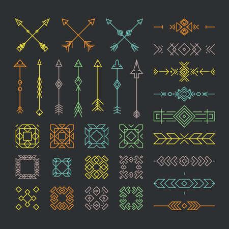 embellishments: Native American design elements including borders, embellishments, arrows made in vector. Line style vector collection. Illustration
