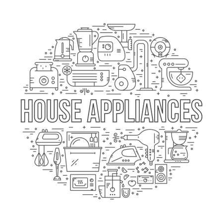electrodomésticos dispuestos en un círculo con un signo de aparatos de casa en el centro. Vector ilustración de estilo de línea. Ilustración de vector