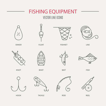floater: Collection of different fishing gear with names made in modern line style vector. Outdoor activity symbols. Fishing equipment collection made in vector. Bobber, tackle, floater, rod, boat and other fishermans gear.
