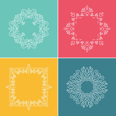 Tribal ethnic frame collection made in modern line style vector. Graceful and elegant style.