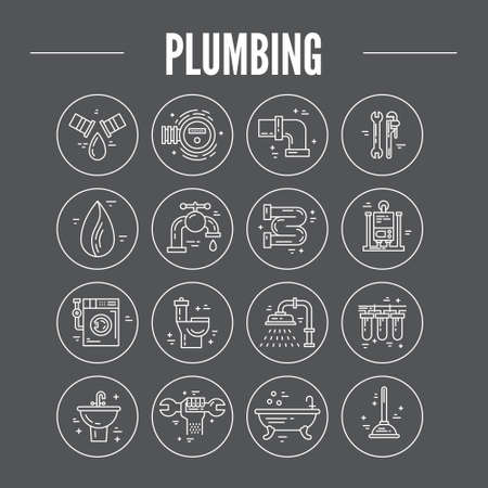 the leak: Vector collection of plumbing icons. Plumbing and handyman service symbols made in line style vector. Modern illistrations of pipe, leak, faucet fixing and other repair services.
