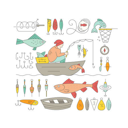 fish rod: Big collection of fishing gear and other fishing related elements made in vector. Fisherman in the boat catching fish, rod, bobber, tackle and other fishing elements. Illustration