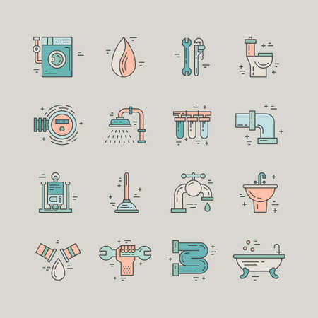 plumb: Collection of line style plumbing icons. House repair services. Illustration