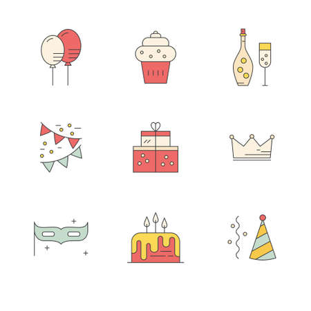 event planning: Set of party icons made in line style vector. Celebration symbols. Design elements for event planning company or birthday party.