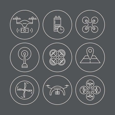 pictogramm: Line icons with inmanned aerial vehicle. Aerial photography and videography. Different views of drone and drone equipment. Set of linear drone icons. Illustration