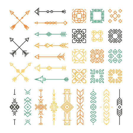 embellishments: Indian or native American design elements including borders, embellishments, arrows made in vector.