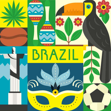 cristo: Vector illustration with Brazil symbols. Travel to Brazil concept made in flat style vector.