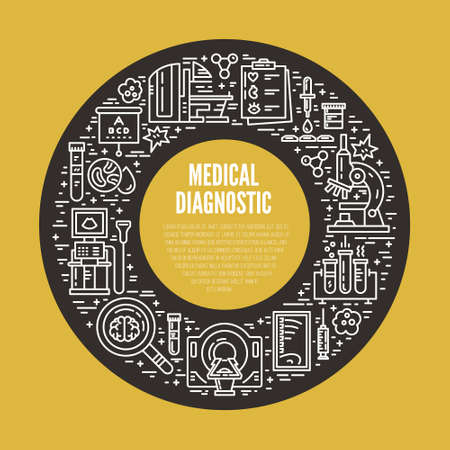 ct scan: Unique line style vector illustration with different medical machines and gear. Medicine and chemical engineering. Healthcare poster or banner template.