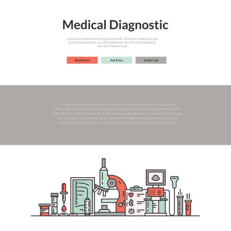 Website layout for research lab, hospital or check-up center. Hero image concept for medical site. Vector page template with medical symbols.