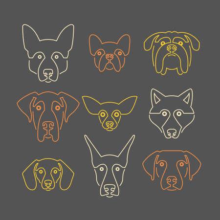 colección de retratos creativos de diferentes razas de perros, incluyendo Sheepherd alemán, labrador, doberman, ronca. Perro se enfrenta. Ilustración moderna de la clínica veterinaria, logotipo criador de perros.