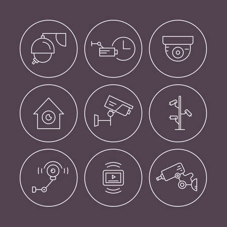 monitored area: Surveillance icons made in linear style vector. Thin line icon illustration of spy, security, surveillance. Security system illustration. CCTV symbols.